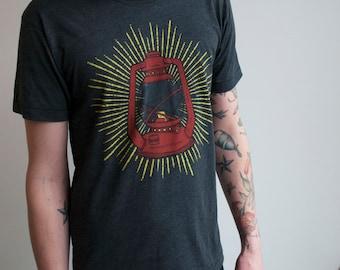 Lantern Shirt Unisex Cut tee USA made Heather black