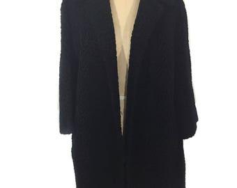 vintage 1960's faux Persian lamb coat / Franklin Simon / black / faux fur fun fur vegan / women's vintage coat / size medium