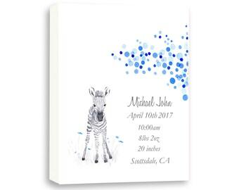 Baby Boy Birth Stat Gift, Baby Zebra Art Gift, Gallery Wrapped Canvas Zebra Gift, Newborn Gift, Z1005C