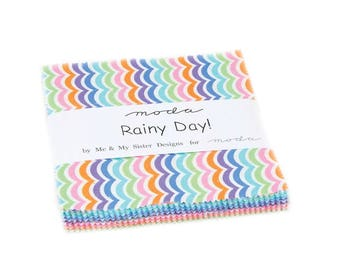 """Moda RAINY DAY! Charm Pack 22290PP 5"""" x 5"""" Quilt Fabric Squares - Me & My Sister"""
