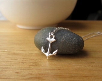 Tiny Sterling Silver Anchor Necklace, sterling silver anchor charm, nautical charm, minimalist jewelry, dainty jewelry
