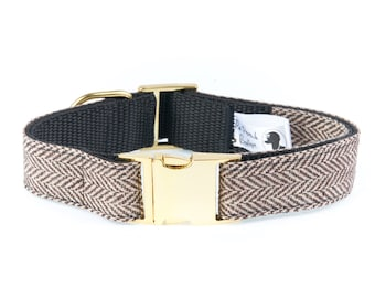 Brown Herringbone Tweed GOLD BUCKLE Dog Collar - Limited Edition