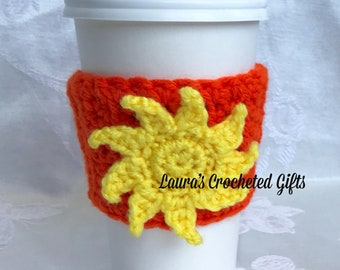 Coffee Cup Cozy, Crochet Coffee Sleeve, Reusable Orange Coffee Cozy, Yellow Sun Coffee Cozy, Handmade Crochet Coffee Cozy, Sun Coffee Cozy