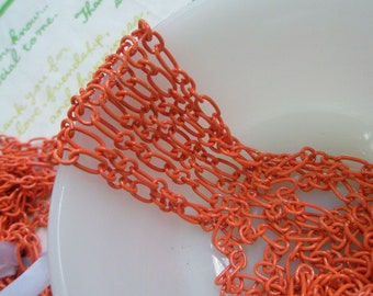 5 Feet Enamel chain Orange 60 inches Link 9mm x 5mm Size--M