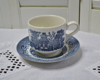 Churchill Blue Willow Cup and Saucer Blue and White Asian Design England Vintage China Replacement Panchosporch