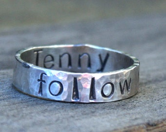 Personalized Jewelry - Personalized Sterling Silver Message Ring - Follow your Heart