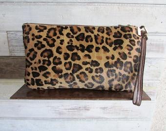 Leopard clutch, Animal print clutch, Leopard wallet, Fur clutch, Pouch, Evening clutch