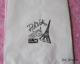 20 Paper Bags, Paris Theme Party, Gift Bags, Candy Bags, Party Favor Bags, Eiffel Tower, Paris Decorations, Sweet 16, White Paper Bags