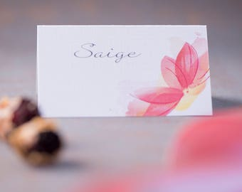 Floral placecards, Flower placecards, Wedding place cards, Elegant placecards, Pink name cards, Seating cards, Delicate tent placecards