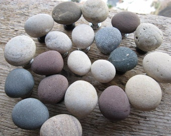 BEACH Stone Cabinet Knobs Stone Drawer Pulls  CUSTOM ORDERS