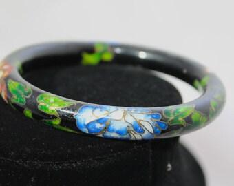 Black Enamel Design and Clozapine Ornate Vintage Rounded Flowery Bangle Bracelet