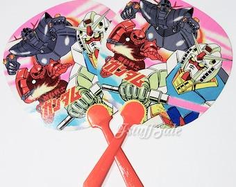 Set of 2 - 80's vintage Gundam Uchiwa paper fans