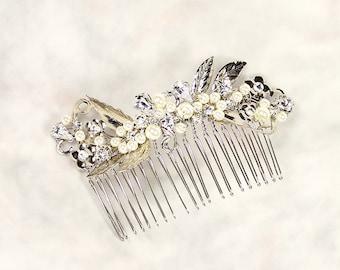 Viola Bridal Hair Comb, Wedding Hair Comb, Bridal Leaf Hair Comb, Silver Leaf Comb with Pearls, Wedding Hair Accessory, Bridal Hair Piece