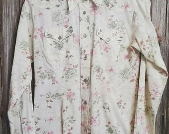 Vintage H Bar C Ladies Floral Pearl Snap Western Shirt