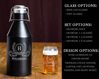 Beer Growler Set, Personalized 64oz. Growler, Engraved Stainless Steel Beer Growler, Brewery Accessories, Pint Glass Set, Beer Can Glasses