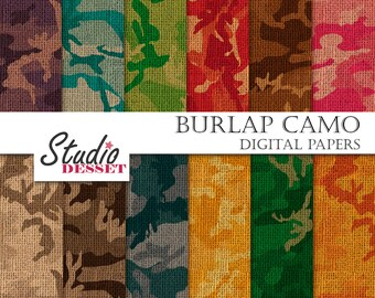 Burlap Military Camo Papers, Camouflage Digital Paper - Military designs for Cards, Invitations, Instant Download A233