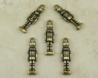 5 TierraCast Nutcracker Nut Cracker Charms - German Christmas Holiday - Brass Ox-plated Lead Free Pewter - I ship Internationally 2350