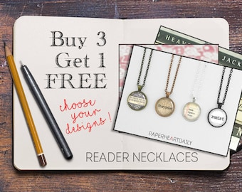 Buy 3 Get 1 FREE - Reader Necklaces - Book Jewelry - Book Lover Gifts - Sale - Discount - B3G1