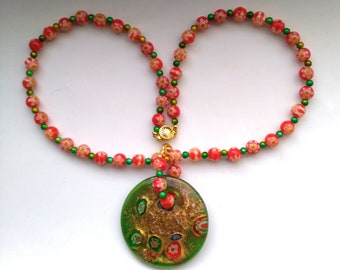 Millefiori Venetian Glass& Miracle Beads Necklace, Round Murano Italy Pendant, Gold Red Green Large Murano Floral by enchantedbeads on Etsy