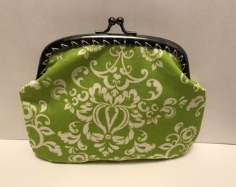 Large Lime Damask Coin Purse