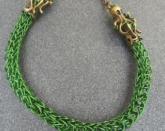 Octopus mermaid green viking knit bracelet