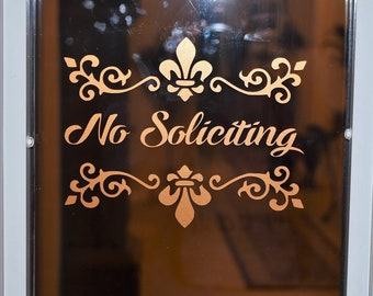No soliciting decorative scroll vinyl decal for door or window