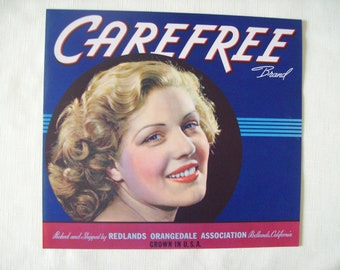 Carefree Brand Crate Label 1940s