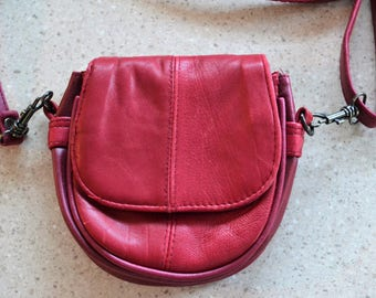 Vintage Red Leather Purse Small Crossbody Bag / Wallet / Travel Purse / Club Purse / Boho Bag with Removable Strap