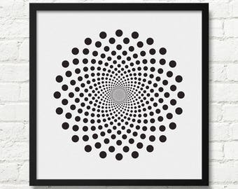 Black And White Op Art, Optical illusion Art, Black And White Print, Designer Poster, Optical Art, Bedroom Art , Contemporary Art