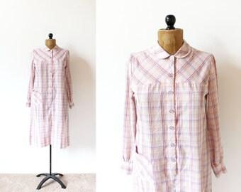 vintage dress 70's plaid pink pastel long sleeve 1970's women's clothing size medium m
