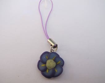 Attached phone / Keychain purple small flower