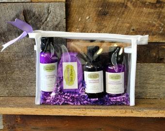 Lavender Overnight Spa Bag, Lavender Lotion, Shampoo, Conditioner, Travel Kits, Soap Bar