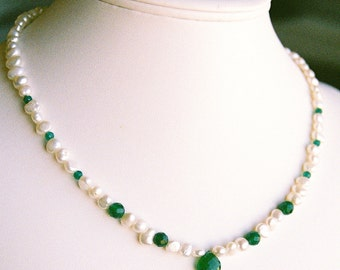 Necklace - Green Apatite Briolette with Freshwater Pearls and Apatite