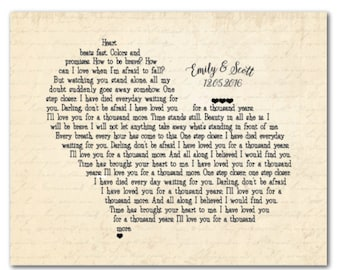 CANVAS Customized Anniversary, Wedding, Valentines Gift - wedding lyric, wedding vows - Personalized gift for couple - heart wall art