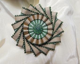 Green Tan Pinwheel Cocarde Cockade Vintage Ribbon