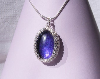 Purple Sparkle Glass Cabochon in Miyuki Delica Beaded Frame