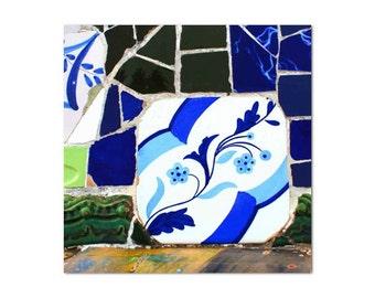 Wall print mosaic, Blue wall decor, mosaic tile print, fine Art photography, spanish wall  decor, Gaudi