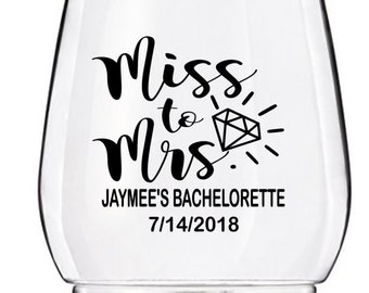 Bachelorette Party Wine Glass Decals, Miss to Mrs Wedding Wine Glass Decals, Personalized Bachelorette Decals, GLASSES NOT INCLUDED