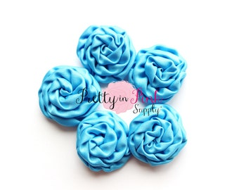 Bright Blue MINI Isabella Collection Ruffled Rosettes- You Choose Quantity- Rolled Rosettes- Rolled Rosettes- Rosettes- Flower- Supply- DIY
