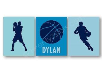 Basket-ball nom estampes, ensemble de 3 toiles, cadeau de Basketball, Basketball Wall Art, personnalisé toile de Basketball, Basketball nom Art
