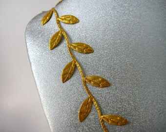 30 Yards, GOLD Leaves Ribbon Trim for Wedding, Crafting, Scrapbooking, Card Making, Embellishment,  5/8 inch wide