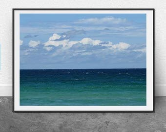 Ocean Sky, Instant Print, DIGITAL Download, Printable Art, Blue, Sky, Ocean, Clouds, Beach Photography, Nautical Print, Wall Art, Home Art