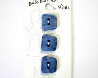 Belle Buttons By Dritz Medium 20 mm ( 1 3/16 inches) Blue Marble Square [Trapezoid] *L1