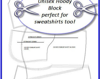 Unisex Sweatshirt - Hoody Block- Loose Relaxed Fit- Sizes XS to XL- Ideal for small fashion business and pattern makers.