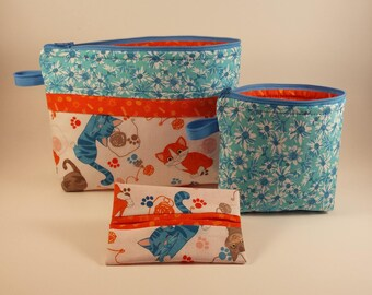 Graduation gift, FREE SHIPPING, Becca bag, Cosmetic bag, Zipper bag, Travel bag, Gift bag, Cats, Mother's Day Gift