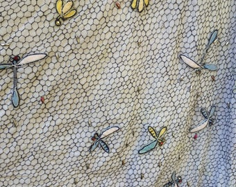 Tina Leser Original full skirt with dragonflies and insects, honeycomb background.