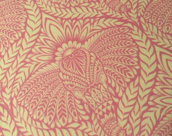 Elephant Fabric- Deity Pink on White from the Eden Collection by Tula Pink for FreeSpirit 100% High Quality Cotton by 1/2 Yard- Yardage