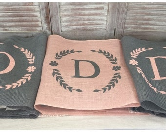 Peach Blush Burlap Table Runner with Initial and leaf border - Wedding runner Home decor Holiday decorating