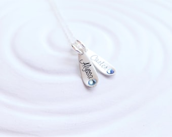 Mother's Necklace - Grandmother Necklace - Tiny Teardrop Birthstone Necklace - Dainty Jewelry - Birthstone Name Necklace - Mother's Day Gift