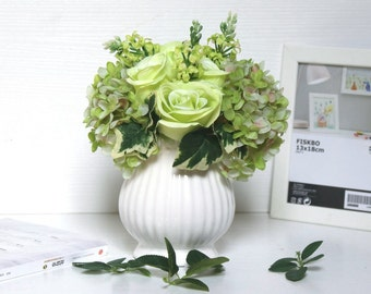 Artificial Fake Flowers Bouquet Vase Included